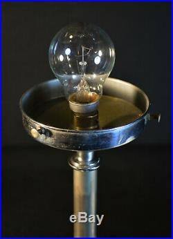 Edwardian C-1910 chrome plated lamp Art Deco Architectural Opaline Glass Shade