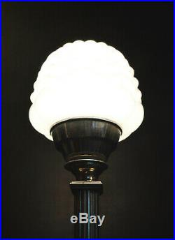 Edwardian C-1910 silver plated lamp Art Deco Architectural Opaline Glass Shade