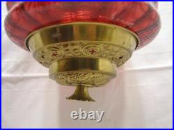 Electrified Cranberry Art Glass Shade Pendant Chandelier Ceiling Hall Light Lamp