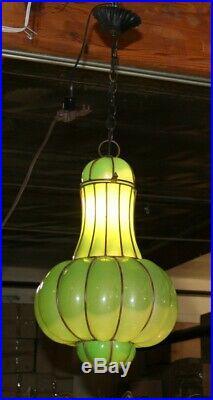 European Wrought Iron Ceiling Lamp& Hand Blown Art Glass Shade Romania