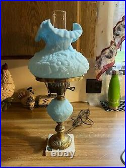 FENTON Glass Blue Poppy GONE WITH THE WIND Electric Lamp with Marble Base