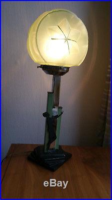 Fabulous Art Deco chrome glass and ceramic lady lamp