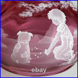 Fenton #99 Of #950 Cranberry Mary Gregory Lamp Boy And Dog Bubb Playing Bulldog