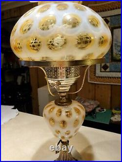 Fenton Art Glass Amber Opalescent Coin Dot 20 3/4 Student lamp with Marble base