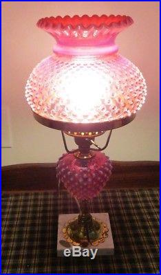 Fenton Art Glass Cranberry Opalescent Hobnail Student Electric Table Lamp w Tag