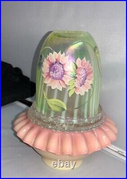 Fenton Art Glass HP Sun Flower Burmese Topaz Opalescent Fairy Light Lamp 7610TC