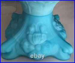 Fenton Art Glass Poppy Blue Satin Student Lamp Vintage Glass Base