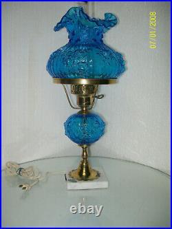 Fenton Blue Cabbage Rose Lamp