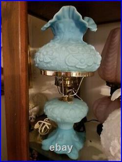 Fenton Blue Lamp Poppy Design 18''tall Good condition