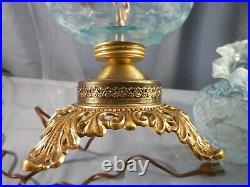 Fenton Blue Opalescent Glass Fern & Daisy Pattern Electric Table Lamp