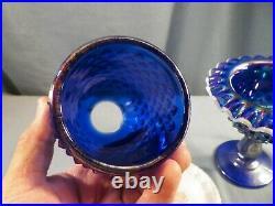 Fenton Cobalt Blue Carnival Glass Hobnail Snow Crest 3 Piece Footed Fairy Lamp