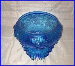Fenton Colonial Blue Glass Rose Pattern Student Lamp