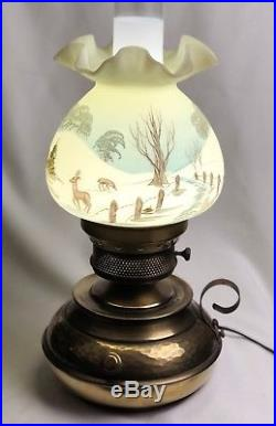 Fenton Colonial Hammered Brass Lamp Nature's Christmas 79 Limited Edition Sig