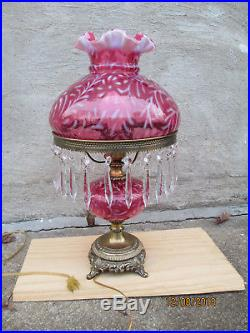 Fenton Cranberry Opalescent Glass Daisy and Fern Lamp