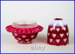 Fenton Cranberry Opalescent Hearts 3-Piece Fairy Lamp Vintage Art Glass