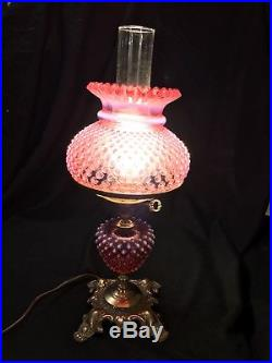 Fenton Cranberry Opalescent Hobnail Lamp 16 1/2-Great Condition-See Pics