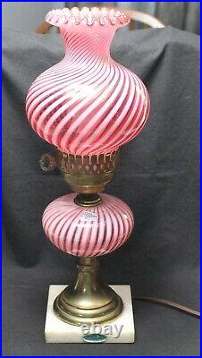 Fenton Cranberry Opalescent Spiral Swirl Lamp Labels