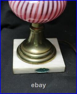 Fenton Cranberry Opalescent Spiral Swirl Lamp Labels 1
