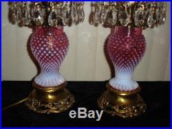 Fenton Cranberry Opalescent hobnail Student lamp GWTW (1-2) Dutch auction