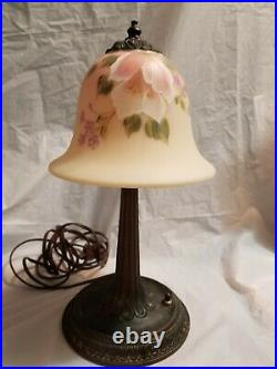 Fenton Glass Burmese Lamp 13\1\2'' Tall Pink Flowers