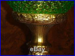 Fenton Green Vaseline Opalescent Hobnail Glass Antique Floor Lamp