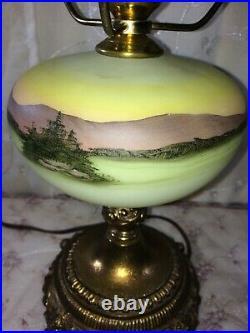 Fenton Hand Painted Grist Mill Lamp on Satin Custard