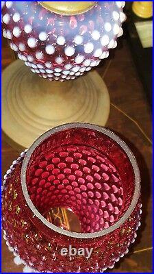Fenton Hobnail Glass Lamp Cranberry Opalescent Chimney & Font Brass Base 16.5
