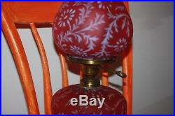 Fenton LG Wright Satin Cranberry Glass Daisy and Fern Electric Table Lamp