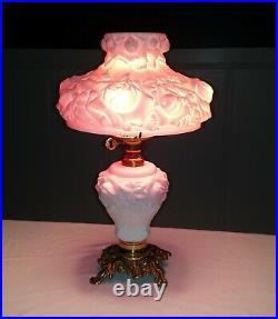Fenton L. G. Wright GWTW Puffy Rose Cranberry Overlay Hurricane Table Lamp Base