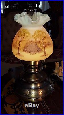 Fenton Lamp Log Cabin Custard Uranium Vaseline Glass Hammered Brass Base 1970's