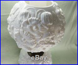 Fenton Lamp White Milk Glass Poppy Pattern Gone With The Wind Excellent Cond