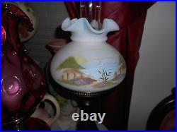 Fenton Lamp in box burmese by the sea & fence New