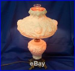 Fenton Lg Wright Glass American Beauty Lamp- White Wild Rose Overlay Pink 1950