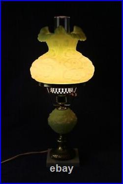 Fenton Lime Green Sherbet Poppy Satin Student Lamp 20 1/4 Tall