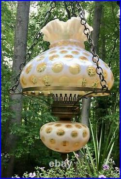 Fenton Mid Century Honeysuckle Opalescent Coin Dot Hanging Swag Lamp