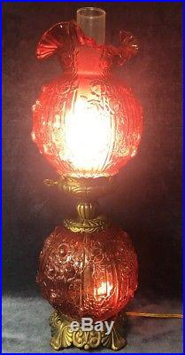 Fenton PINK Cabbage Puffy Rose GWTW Art Glass Vintage Electric Double Table Lamp