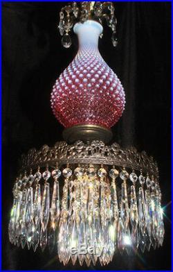 Fenton SWAG Bedroom Cranberry hobnail art Glass Crystal Lamp Chandelier Vintage