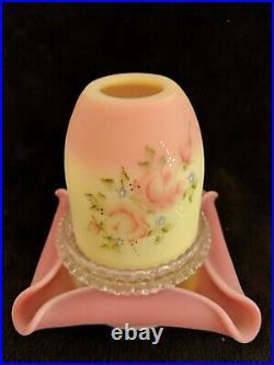 Fenton Satin Burmese Fairy Lamp Roses Light Qvc 1994 Three 3 Piece