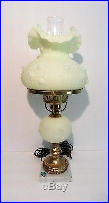 Fenton Satin Custard ROSE Student Lamp