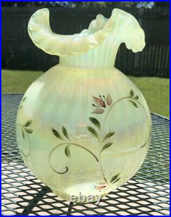 Fenton Vaseline Opalescent Gone With The Wind Lilly Trails Striped Lamp Shade