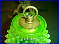 Fenton Yellow Vaseline Glass Iron Old Lamp