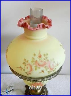 Fenton art glass hand painted burmese table lamp roses