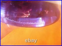 Fenton (h/p) With Flowers Signed By The Artist 3 Pc Purple Fairy Lamp