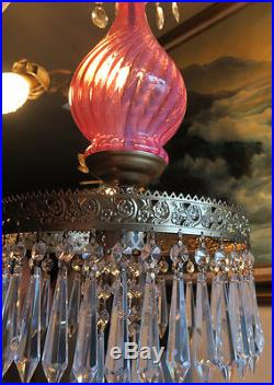 Fenton hanging SWAG Cranberry Swirl Glass Crystal Lamp Chandelier Vintage opales