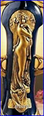 Figural Lamp Deco Art Nouveau Glass Shade Gold Lady Figure Statue T Top Desk