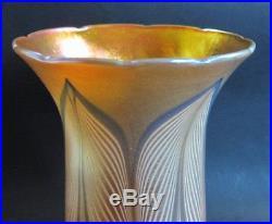 Fine 8 Antique Durand Blue & Gold Art Glass Torchiere Shade c. 1910 lamp vase
