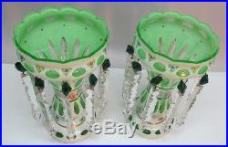 Fine Pair of ANTIQUE BOHEMIAN LUSTRES White over Green c. 1930 Signed Exc Cd