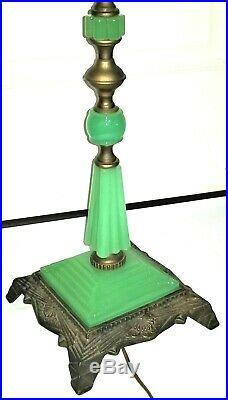 Floor bridge LAMP, c1920 Art Deco, Houze Glass, Jadeite/ Nile green, 57t