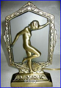 Frankart style flapper nymph art deco brass lamp with glass shade and wired USA