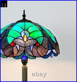 Free Postage JT Tiffany Stained Glass 16 Inch Blue Baroque Style Floor Lamp Art